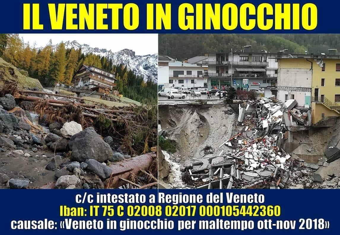 Regione Veneto: aperto conto di solidarietà per le devastazioni del maltempo